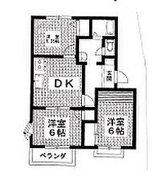 岡村ハイツ矢場 B[202号室]の間取り