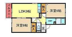 千葉県市原市岩崎の賃貸アパートの間取り