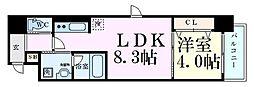 レオンコンフォート西天満 10階1LDKの間取り