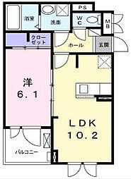江ノ島電鉄 藤沢駅 徒歩22分の賃貸アパート 2階1LDKの間取り