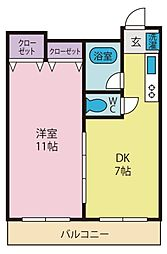 スペースブロス 4階1DKの間取り