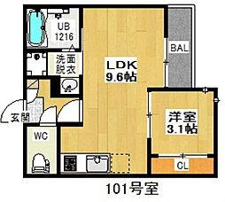 愛知県名古屋市西区栄生2の賃貸アパートの間取り