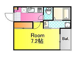 JR山陽本線 広島駅 徒歩15分の賃貸アパート 2階1Kの間取り