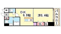 プレジール三ノ宮2[713号室]の間取り