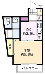 モン・シャトー久我山新館 1階1DKの間取り