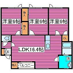 北海道札幌市北区百合が原6丁目の賃貸アパートの間取り