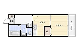 JR関西本線 平野駅 徒歩5分の賃貸マンション 1階1DKの間取り