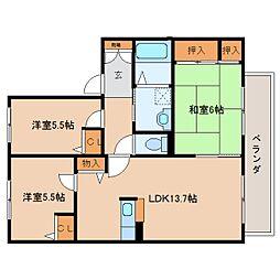 奈良県香芝市真美ケ丘1丁目の賃貸アパートの間取り