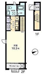 神奈川県海老名市上郷3丁目の賃貸アパートの間取り