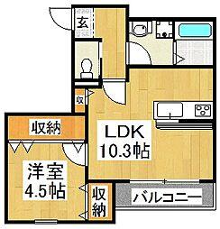 エフイー新金岡 4階1LDKの間取り