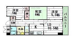 大阪府豊中市二葉町1丁目の賃貸マンションの間取り