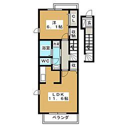静岡県富士宮市中島町の賃貸アパートの間取り