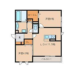 奈良県奈良市三条桧町の賃貸アパートの間取り
