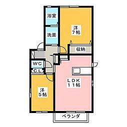 ガーデンコート出川B棟[1階]の間取り