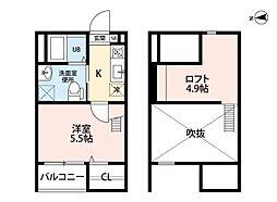 名古屋市営東山線 岩塚駅 徒歩6分の賃貸アパート 1階1SKの間取り