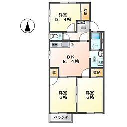 レジデンスFUJIGAOKA[2階]の間取り