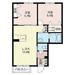 スパローハウス参番舘D[1階]の間取り