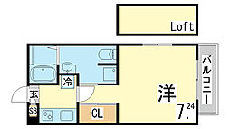 兵庫県神戸市須磨区関守町3丁目の賃貸アパートの間取り