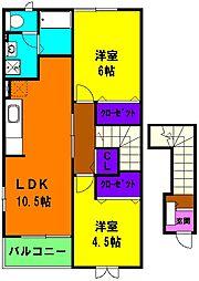 静岡県浜松市中区神田町の賃貸アパートの間取り