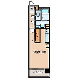 仙台市営南北線 五橋駅 徒歩14分の賃貸マンション 6階ワンルームの間取り