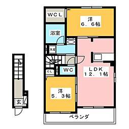 エスタシア[2階]の間取り