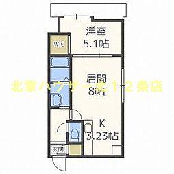 札幌市電2系統 中央区役所前駅 徒歩2分の賃貸マンション 4階1LDKの間取り