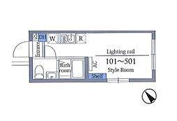 JR山手線 恵比寿駅 徒歩11分の賃貸マンション 3階ワンルームの間取り