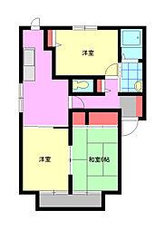 フレグランス東風 A棟[2階]の間取り