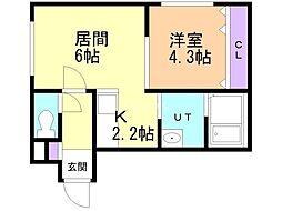 ラグーナ麻生 4階1LDKの間取り
