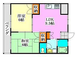 小川マンション[203号室]の間取り