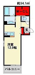 Polonia Kokura-kita 3階ワンルームの間取り