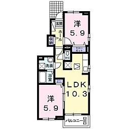 茨城県龍ケ崎市上町の賃貸アパートの間取り