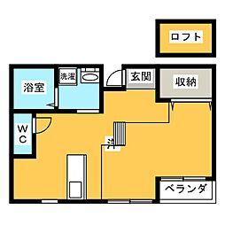GRACE COURT SHIZUOKA 3階ワンルームの間取り