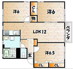 ラフィネ・香嵐  A棟[2階]の間取り