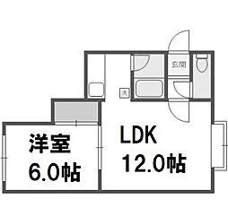北海道札幌市手稲区富丘一条3丁目の賃貸アパートの間取り