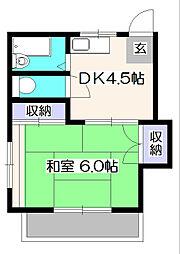 コーポひばりA[1階]の間取り