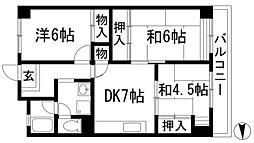 兵庫県川西市絹延町の賃貸マンションの間取り