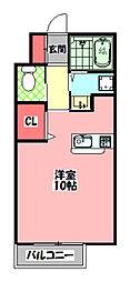 和弐番館 2階1Kの間取り