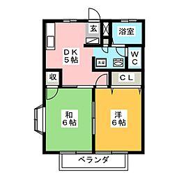 プチロジェ野沢B[2階]の間取り