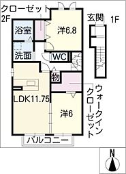 ボヌールMs[2階]の間取り