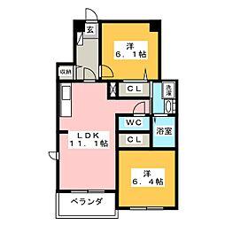 シャンテハウス中根II[2階]の間取り