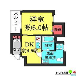 Colorz帝塚山東[3階]の間取り