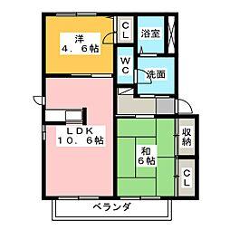 三井ハイツA・B[2階]の間取り
