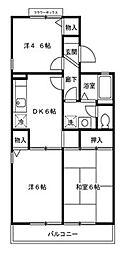 埼玉県上尾市愛宕3丁目の賃貸アパートの間取り
