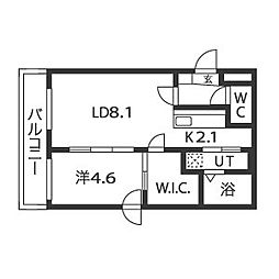 JR函館本線 桑園駅 徒歩9分の賃貸マンション 4階1LDKの間取り