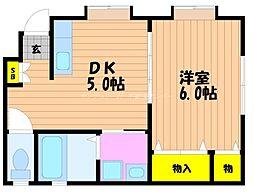 JR宇野線 宇野駅 徒歩13分の賃貸アパート 1階1DKの間取り