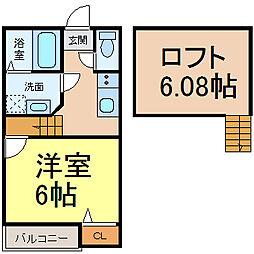 愛知県名古屋市中川区小塚町の賃貸アパートの間取り