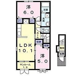 新潟県新潟市北区嘉山の賃貸アパートの間取り