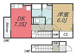 JR内房線 袖ヶ浦駅 徒歩17分の賃貸アパート 2階1DKの間取り