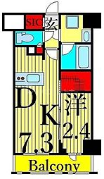 東京メトロ日比谷線 入谷駅 徒歩6分の賃貸マンション 5階1DKの間取り
